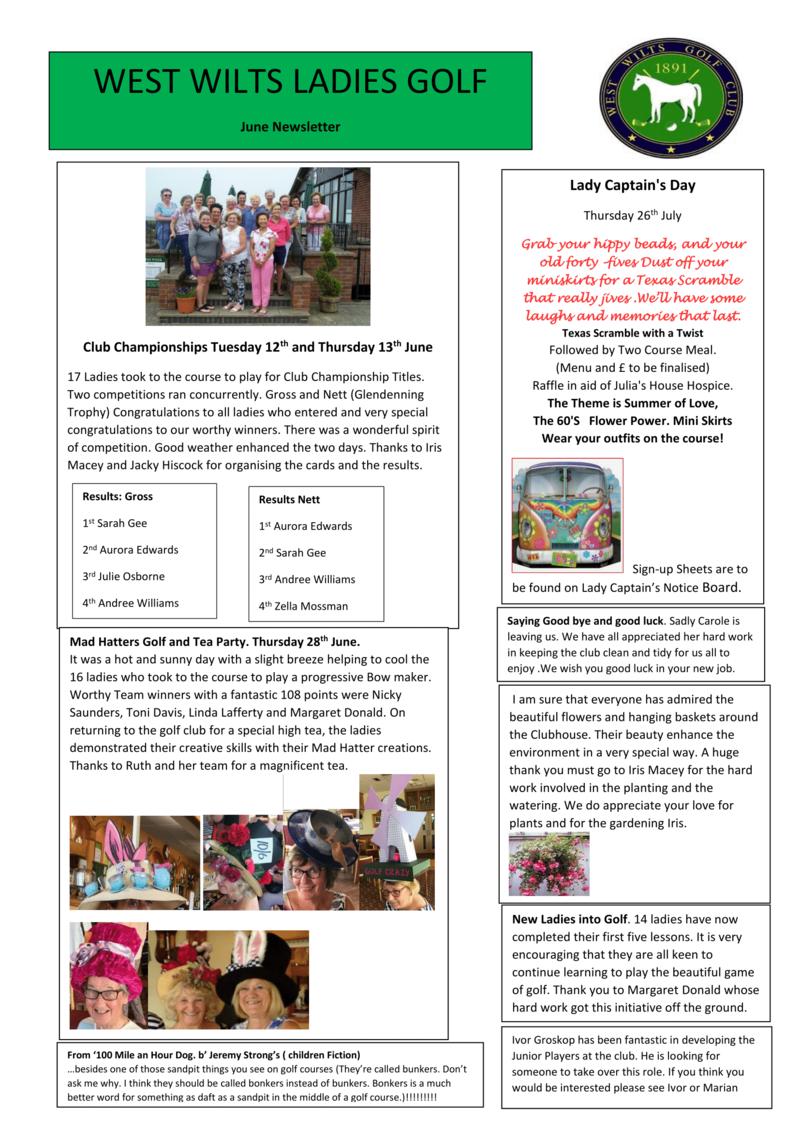 Ladies' Section - June Newsletter