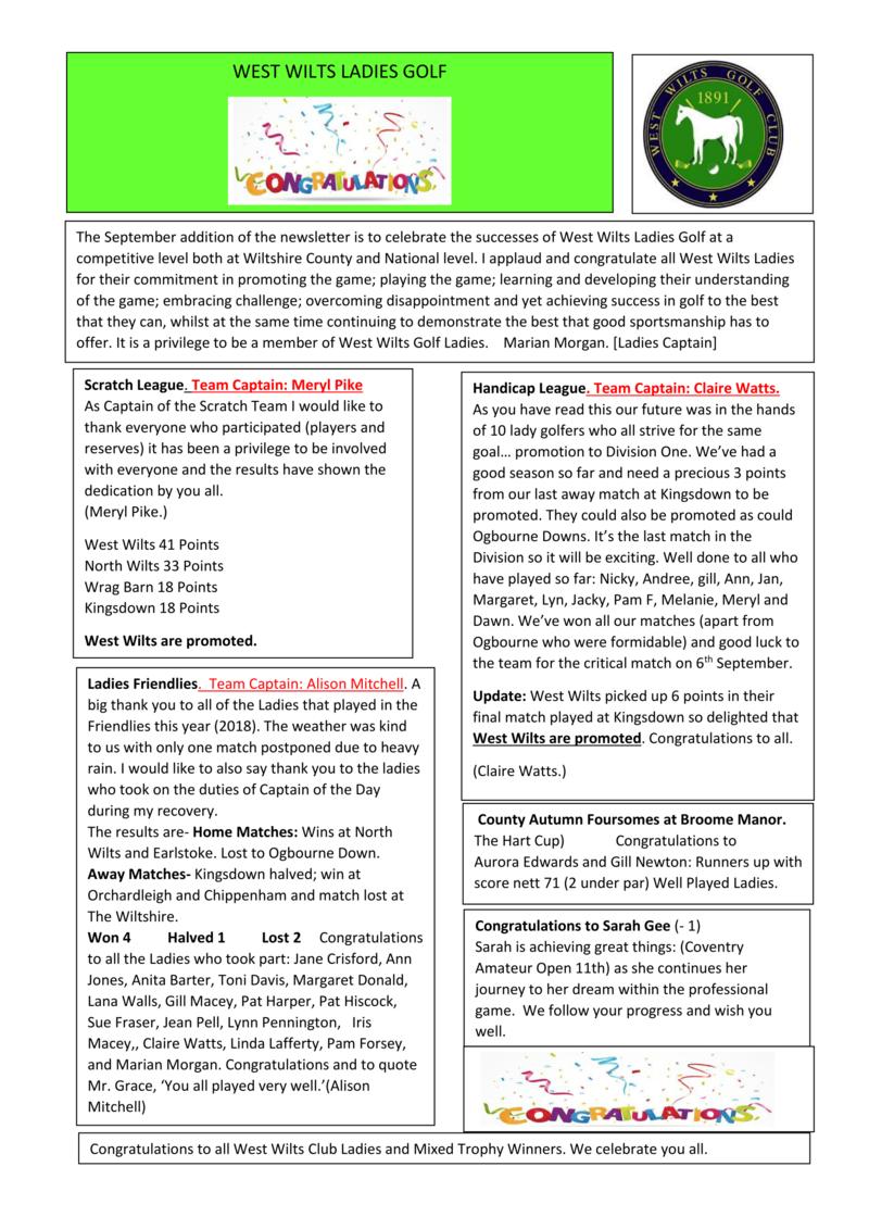 Ladies Section - September Newsletter